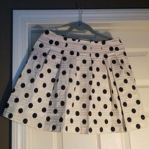 Cream and Black Polka Dot Mini Skirt